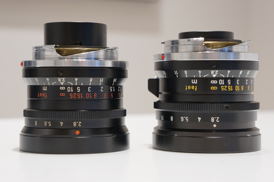 Left:Elmarit M28mm F2.8 1st Right:Elmarit M28mm F2.8 2nd