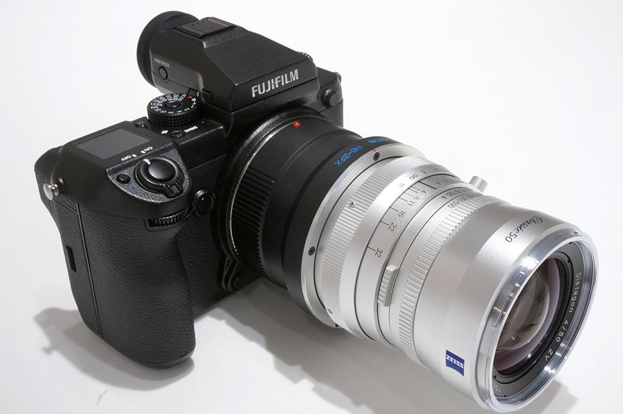 FUJIFILM  GFX 50S+KIPON  マウントアダプター ハッセルVレンズ/フジフイルムGFXボディ用+Carl Zeiss Distagon T*50mm F4ZV Classic(ハッセルブラッド用)