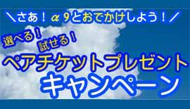 【店頭限定】α9選べる、試せるペアチケットプレゼントキャンペーン!
