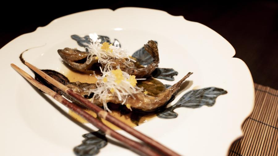 山女魚から揚げ 甘酢餡かけ 白髪葱 針柚子
