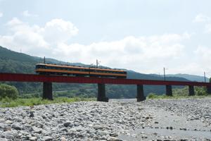 大井川を渡る近鉄特急